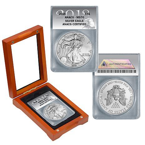 2018 MS70 ANACS Silver Eagle Dollar Coin