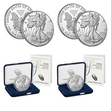 2018 Proof S- and W-Mint Silver Eagle 2-Coin Set