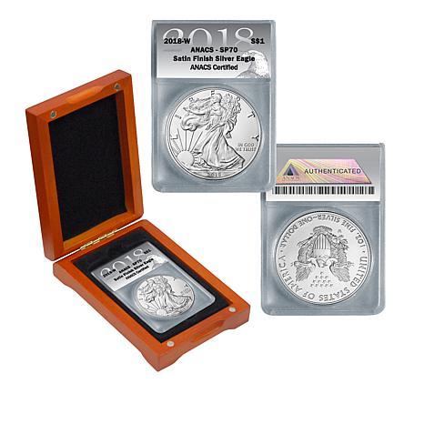 2018 SP70 ANACS Satin-Finish Silver Eagle Dollar Coin