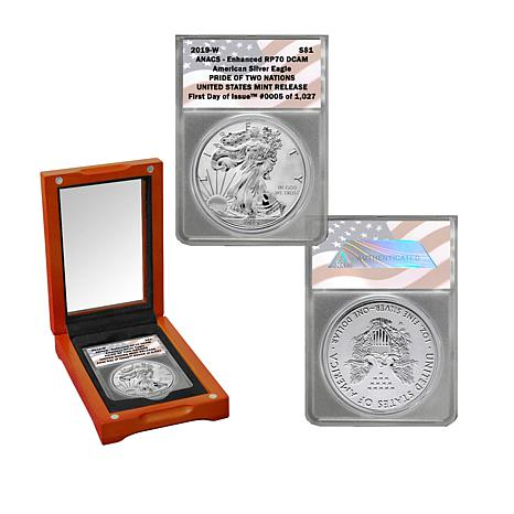 2019 RP70 FDOI Pride of Two Nations U.S. Silver Eagle Dollar Coin
