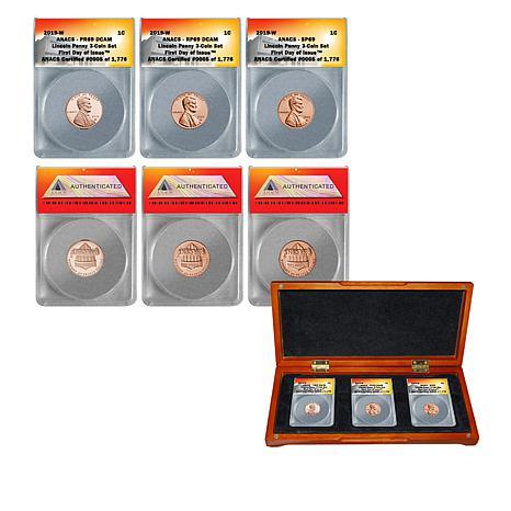 "2019 West Point Mint ""69"" ANACS FDOI LE 1776 Set of 3 Lincoln Cents"