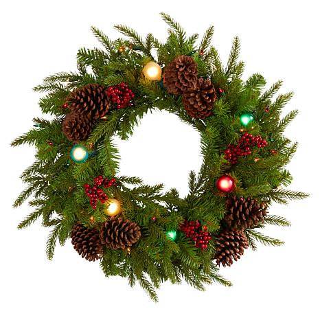 24 in. Christmas Artificial Wreath with 50 Multicolored Lights, 7 M...