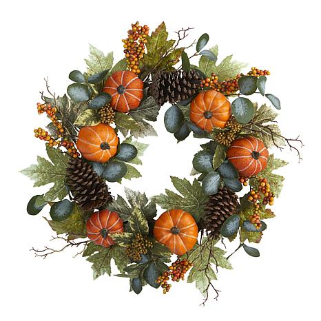24 in. Pumpkins, Pine Cones and Berries Fall Artificial Wreath