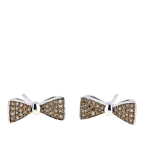.24ctw Colored Diamond Bow Tie Sterling Silver Stud Earrings