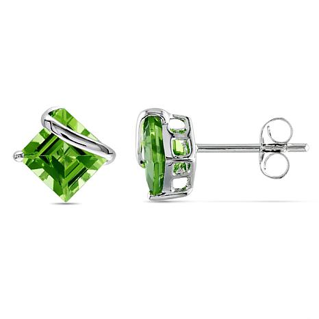 2.4ctw Peridot Square 10K White Gold Stud Earrings