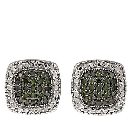 .25ctw Colored Diamond Sterling Silver Cushion-Shaped Stud Earrings