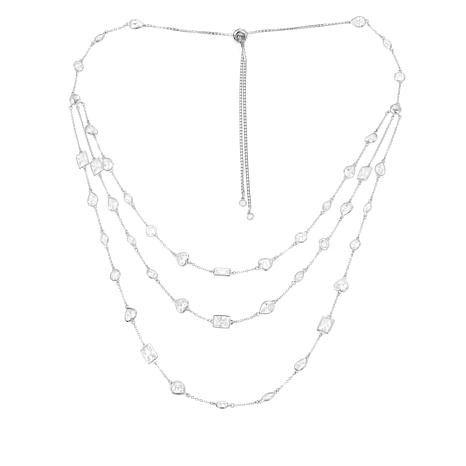 28.95ctw Absolute™  Multi-Shaped Stone 3-Row Necklace