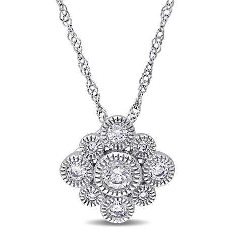 ".28ctw Diamond 14K White Gold Round Cluster Pendant with 17"" Chain"