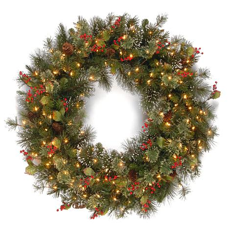 """36"""" Wintry Pine Wreath w/Lights"""