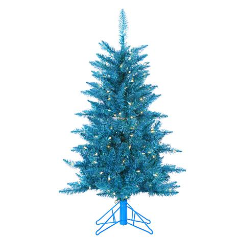 4' Teal Tuscany Tinsel Tree - 150 Clear Lights