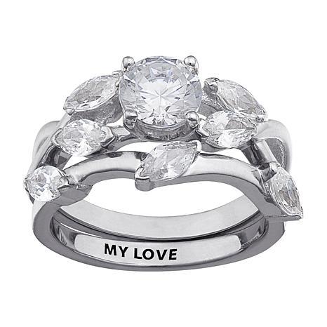 4.57ctw CZ  Engraved 2-piece Wedding Ring Set