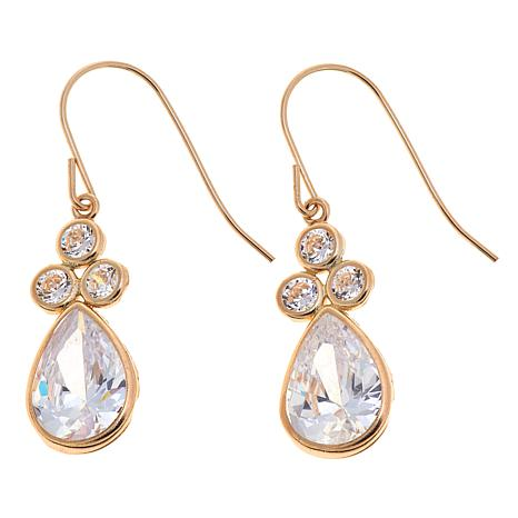 4.60ctw Absolute™ 10K Pear and Round Dangle Earrings