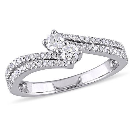 .48ctw Diamond 14K White Gold Double-Row Bypass Ring