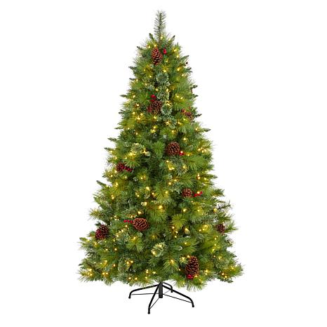 6 ft. Montana Mixed Pine Artificial Christmas Tree with Pine Cones,...