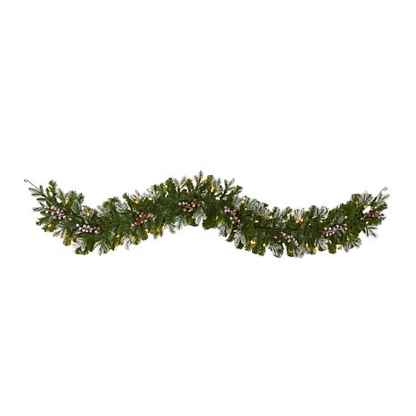 6' Snow Tipped Artificial Christmas Garland with 50 Warm White LED ...