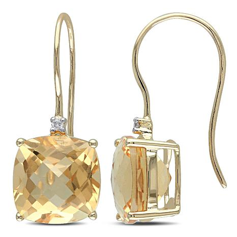 8.02ctw Citrine Diamond-Accented 10K Drop Earrings
