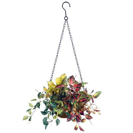 "9"" Assorted Greens Artificial Hanging Basket"