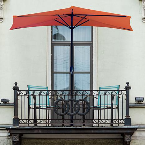 9' Half-Round Patio Umbrella with Easy Crank - Terracotta