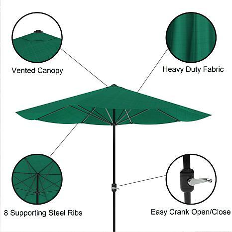 9u0027 Patio Umbrella With Easy Crank   Hunter Green   8830708 | HSN