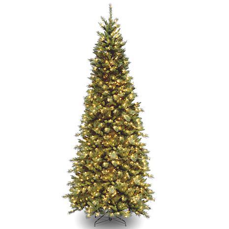 9' Tiffany Slim Fir Hinged Tree w/Lights