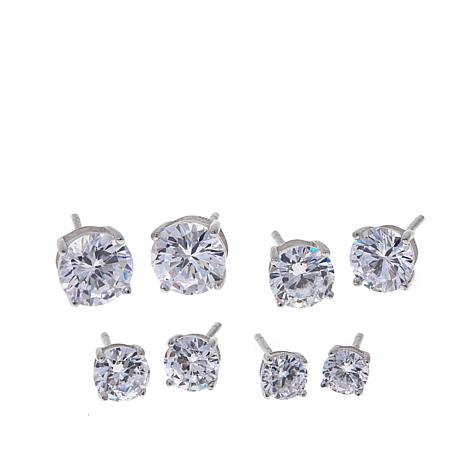 9 8ctw Absolute Round Stone 4 Piece Stud Earrings Set
