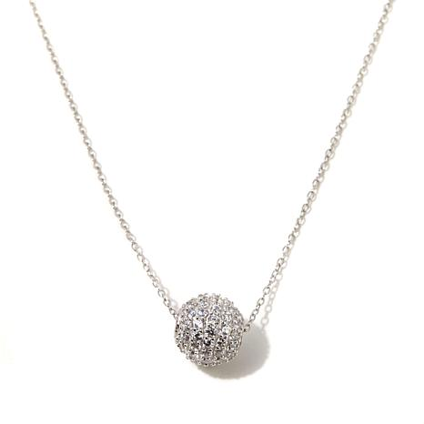 Absolute™ 1.09ctw CZ Ball Drop Sterling Silver Necklace