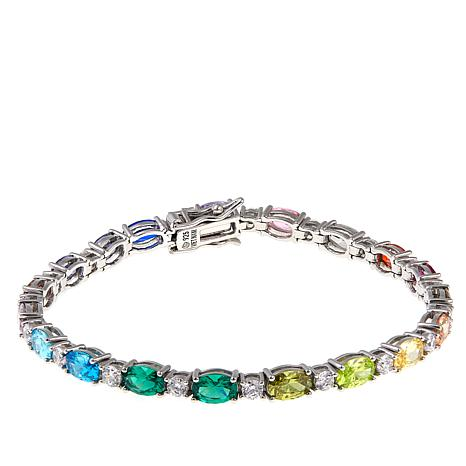 "Absolute™ 11.47ctw Multicolor Stone 6-3/4"" Line Bracelet"