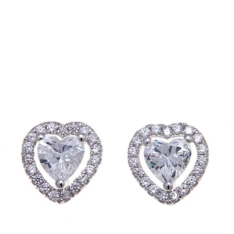 Absolute™ 1.19ctw Cubic Zirconia Heart Stud Earrings