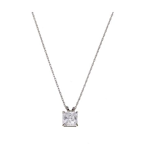 """Absolute™ 1.25ctw CZ 14K Princess Solitaire Pendant with 18"""" Chain"""