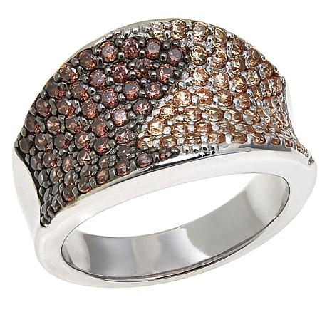 Absolute™ 1.49ctw CZ Champagne and Brown Concave Band Ring