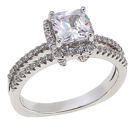 Absolute™ 1.65ctw CZ Sterling Silver Princess Pavé Solitaire Ring
