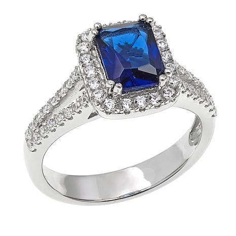 Absolute™ 2.18ctw CZ and Simulated Blue Sapphire Pavé Frame Ring