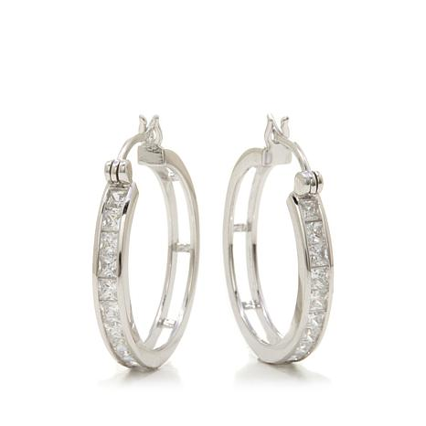 Absolute™ 2.20ctw Princess-Cut Hoop Earrings
