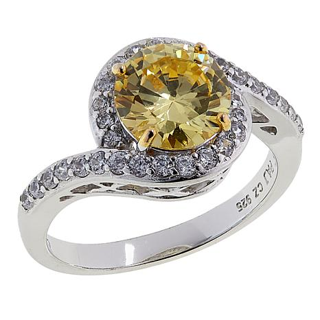 Absolute™ 2.45ctw CZ Sterling Silver Yellow and Clear Swirl Ring