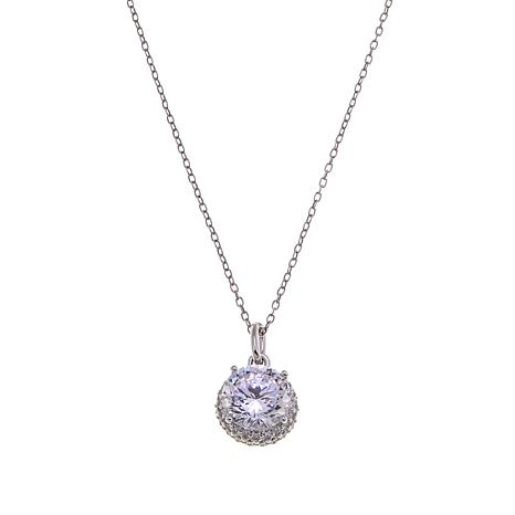 Absolute™ 2.49ctw CZ  100-Facet Round Pavé Pendant with Chain