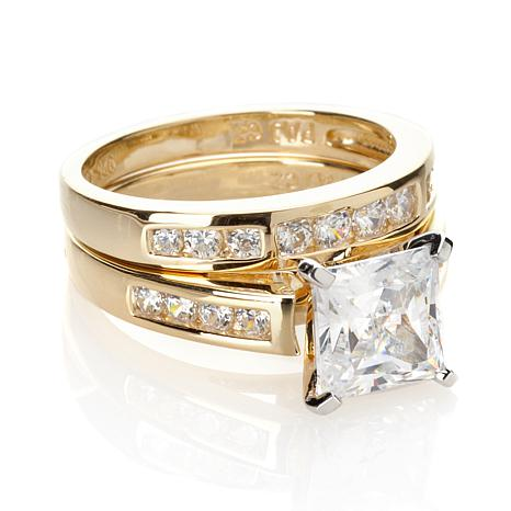 Absolute™ 2.56ctw Princess and Round-Cut CZ Ring Set