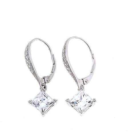Absolute™ 2.66ctw Square and Pavé CZ  Dangle Earrings