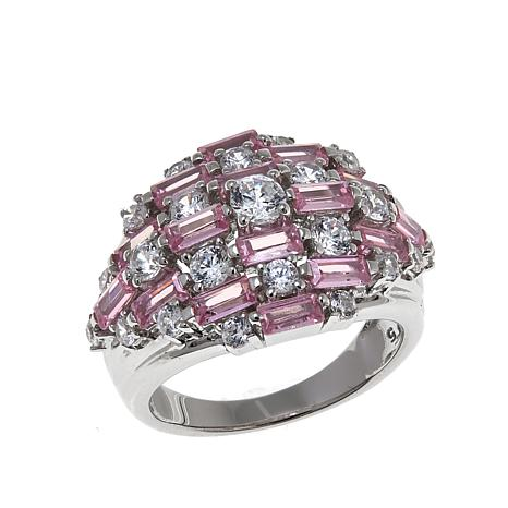 Absolute™ 2.67ctw CZ Baguette and Round Pink and Clear Dome Ring