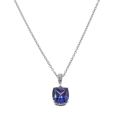 """Absolute™ 2.73ctw Purple and Clear CZ Pear Pendant with 18"""" Chain"""