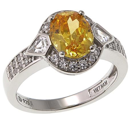 Absolute™ 2.94ctw CZ Oval Canary Sterling Silver Multicut Halo Ring