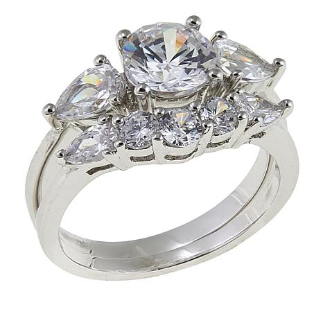 Absolute™ 3.19ctw CZ 3-Stone and 5-Stone 2-piece Ring Set