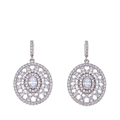 Absolute™ 3.20ctw  Oval and Round CZ Shield Earrings