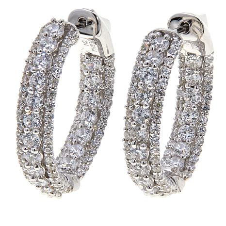 Absolute™ 3.22ctw Cubic Zirconia Hoop Earrings