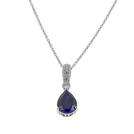 Absolute™ 3.26ctw Created Blue Sapphire and CZ Pear Pendant
