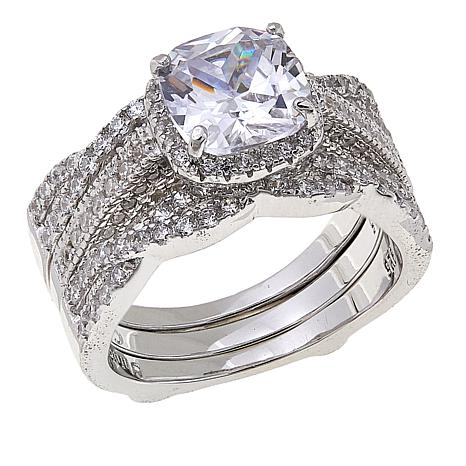 Absolute™ 3.26ctw CZ Cushion with Twist Sides 2-piece Guard Ring Set