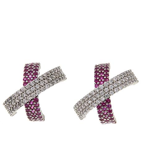Absolute™ 3.27ctw Created Ruby and Clear CZ Overlap Earrings