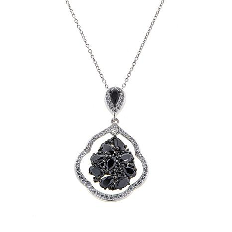 Absolute™ 3.28ctw Black and Clear CZ Cluster Pendant with Chain