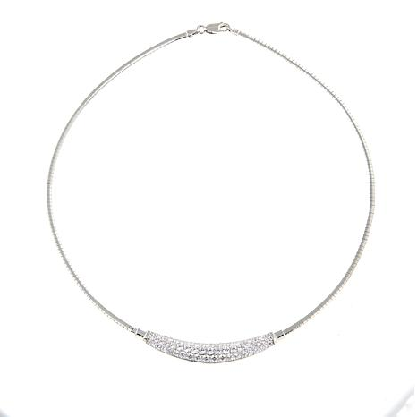 """Absolute™ 3.31ctw CZ Sterling Silver Pavé Bar 17"""" Omega Necklace"""
