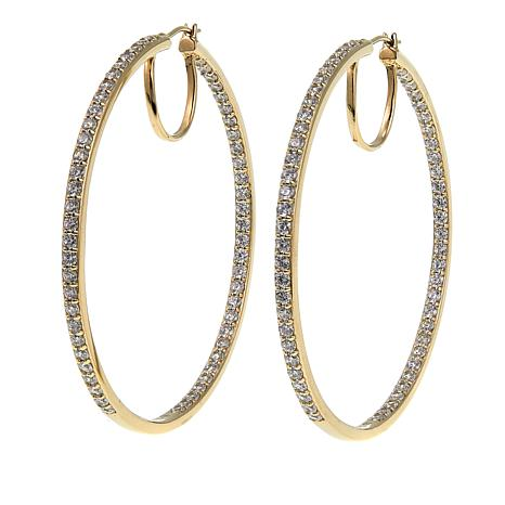 Absolute™ 3.48ctw CZ Yellow Gold-Plated Inside-Outside Hoop Earrings