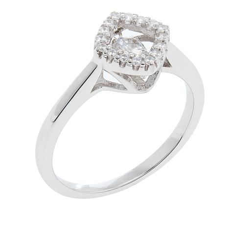Absolute™ .37ctw Dancing CZ Diamond-Shaped Halo Ring